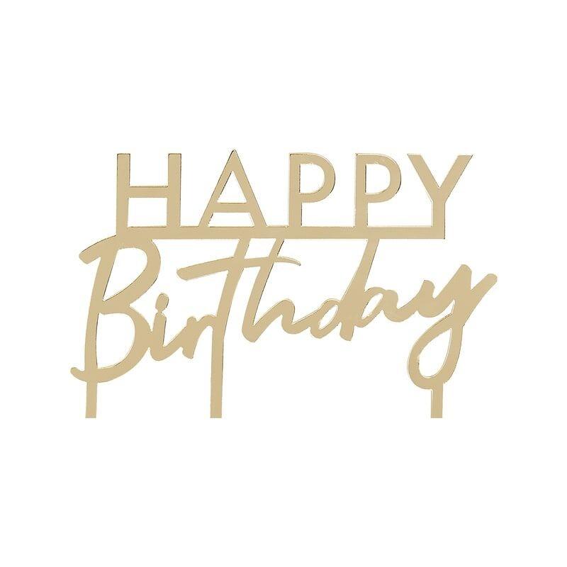 GINGERRAY GOLD ACRYLIC HAPPY BIRTHDAY CAKE TOPPER