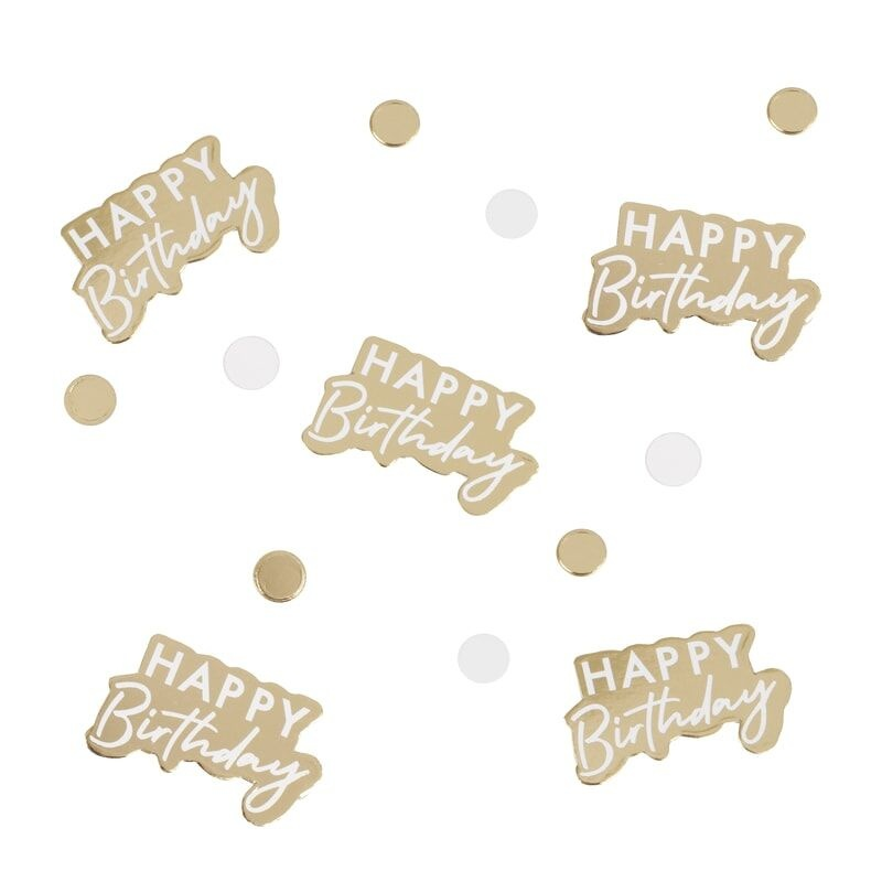 GINGERRAY GOLD AND WHITE HAPPY BIRTHDAY CONFETTI