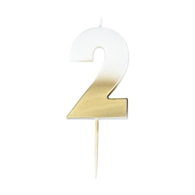 GINGERRAY GOLD OMBRE 2 NUMBER BIRTHDAY CANDLE