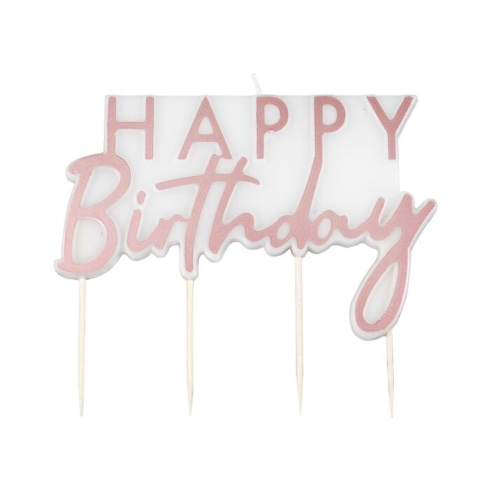GINGERRAY ROSE GOLD HAPPY BIRTHDAY CANDLE