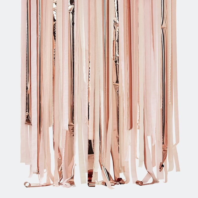 GINGERRAY PINK AND ROSE GOLD PARTY STREAMERS BACKDROP