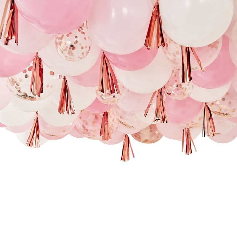 GINGERRAY BLUSH, WHITE AND ROSE GOLD CEILING BALLOONS WITH TASSELS