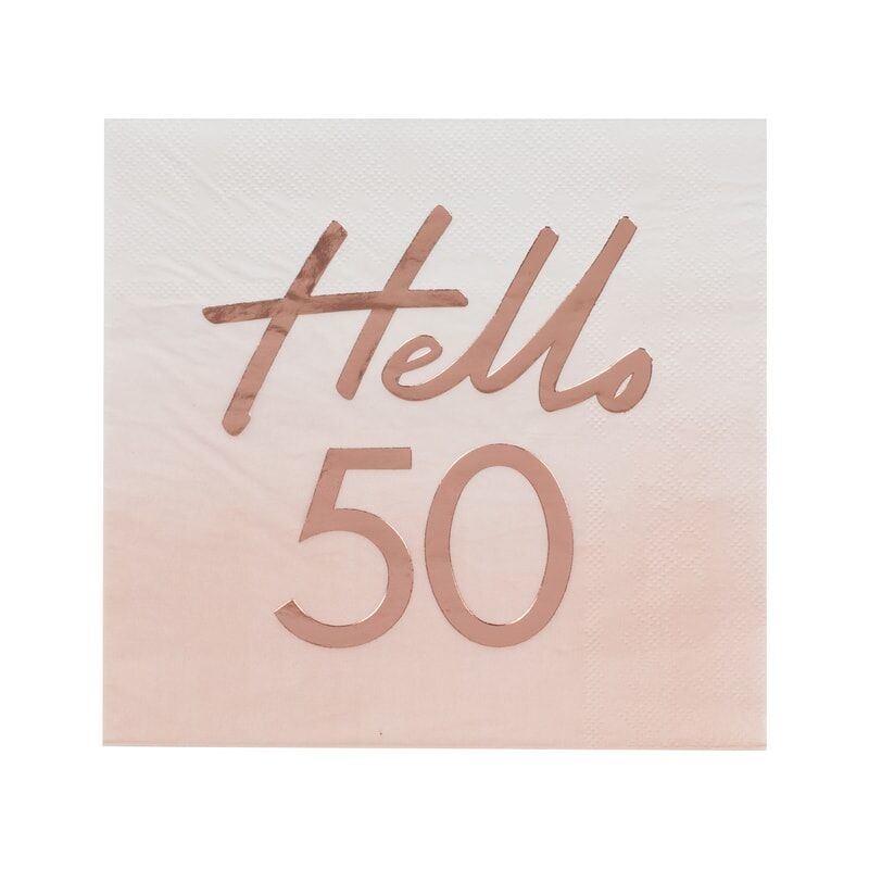 GINGERRAY HELLO 50 BIRTHDAY PARTY NAPKINS ROSE GOLD