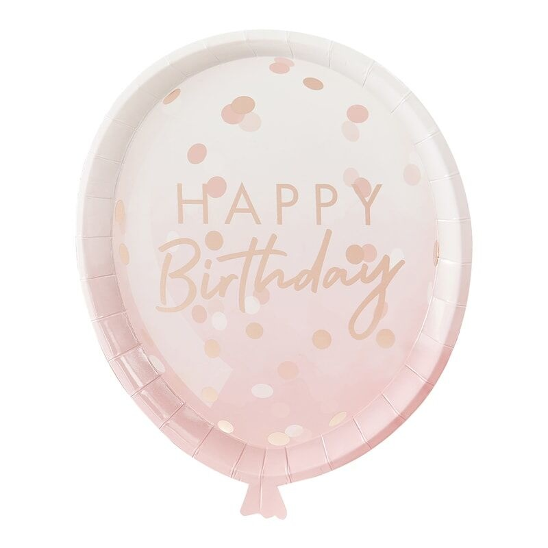 GINGERRAY ROSE GOLD BALLOON SHAPED PARTY PAPER PLATES