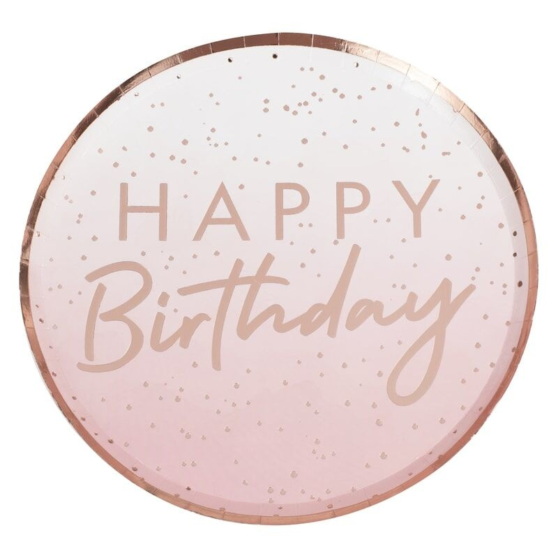 GINGERRAY ROSE GOLD OMBRE PAPER HAPPY BIRTHDAY PLATES