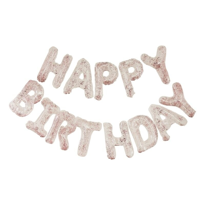 GINGERRAY CLEAR FOIL & CONFETTI HAPPY BIRTHDAY BALLOONS BANNER