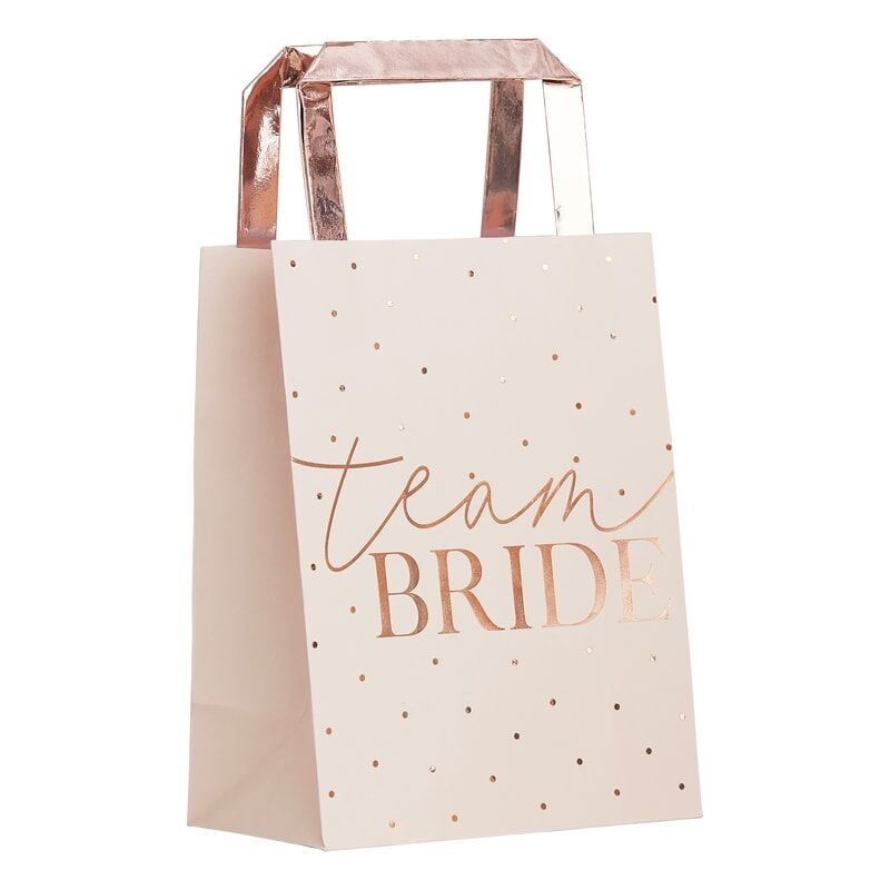 GINGERRAY PINK TEAM BRIDE ROSE GOLD FOILED HEN PARTY BAGS