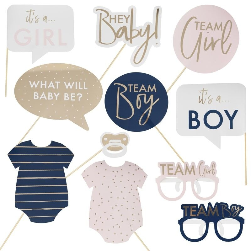GINGERRAY GOLD FOILED GENDER REVEAL PARTY PHOTO BOOTH PROPS