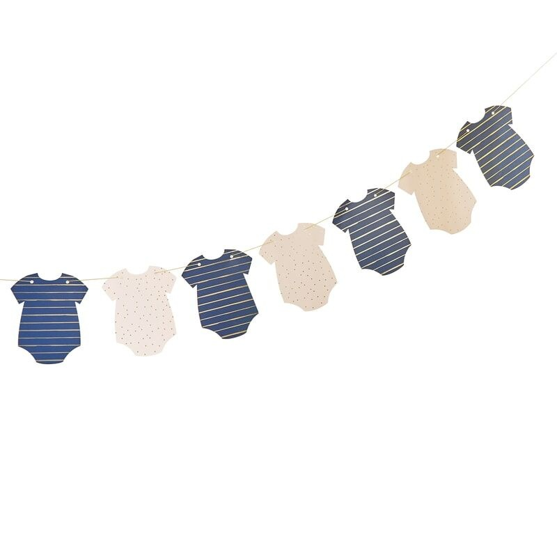 GINGERRAY GOLD FOILED PINK & NAVY BABY GROW BABY SHOWER BANNER