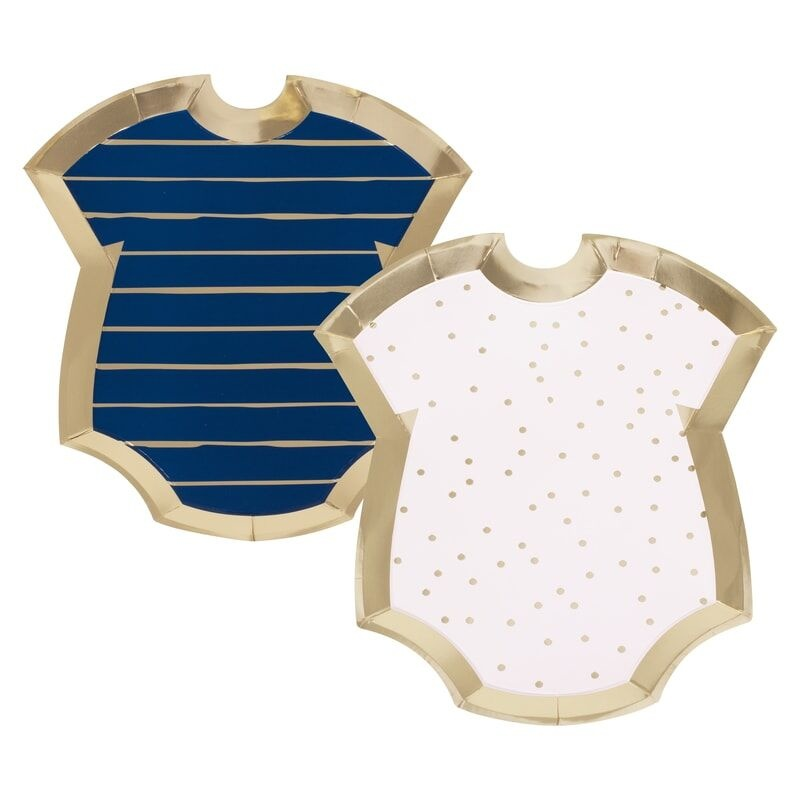 GINGERRAY GOLD FOILED PINK AND NAVY BABY GROW GENDER REVEAL PARTY PLATES