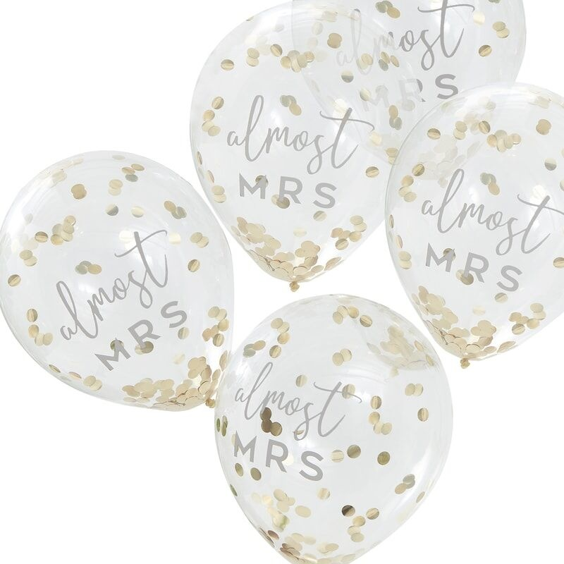 GINGERRAY ALMOST MRS GOLD CONFETTI HEN PARTY BALLOONS