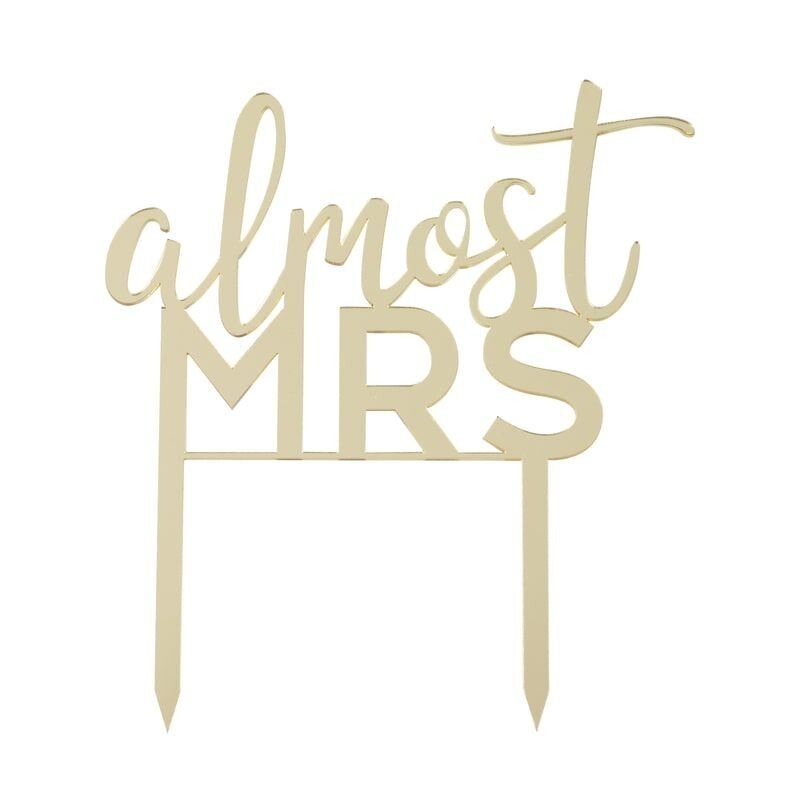 GINGERRAY ALMOST MRS GOLD ACRYLIC HEN PARTY CAKE TOPPER