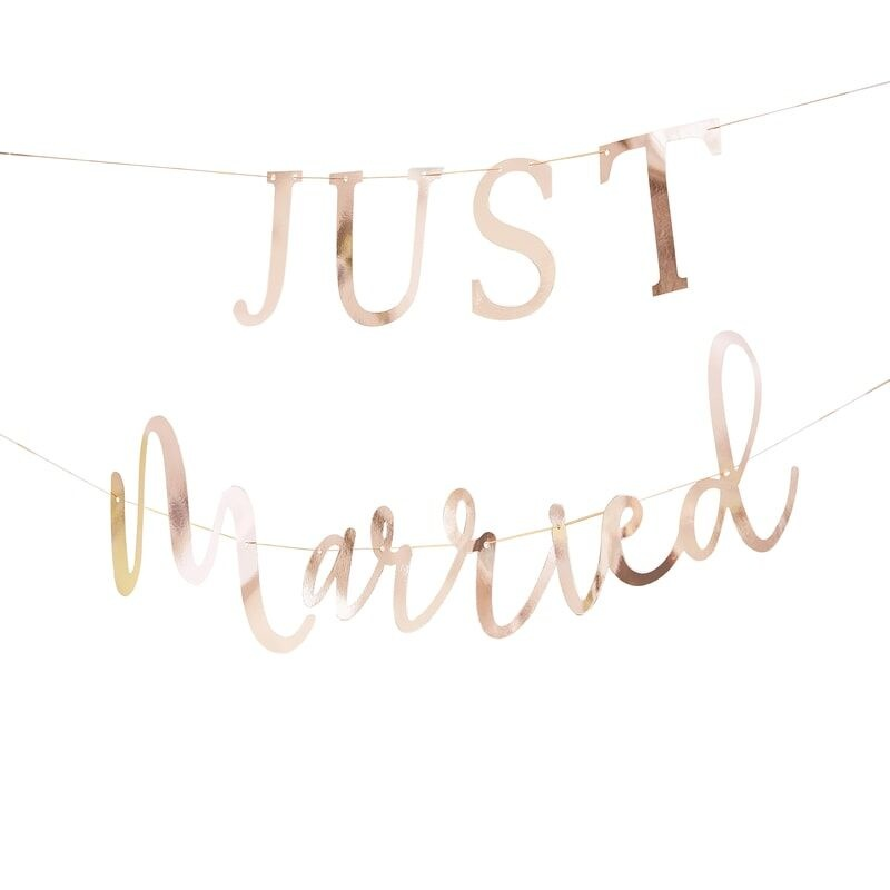 GINGERRAY ROSE GOLD SCRIPTED JUST MARRIED BANNER