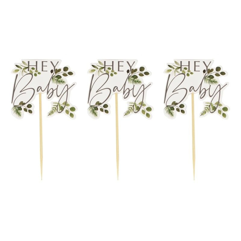 GINGERRAY HEY BABY SHOWER CUPCAKE TOPPERS