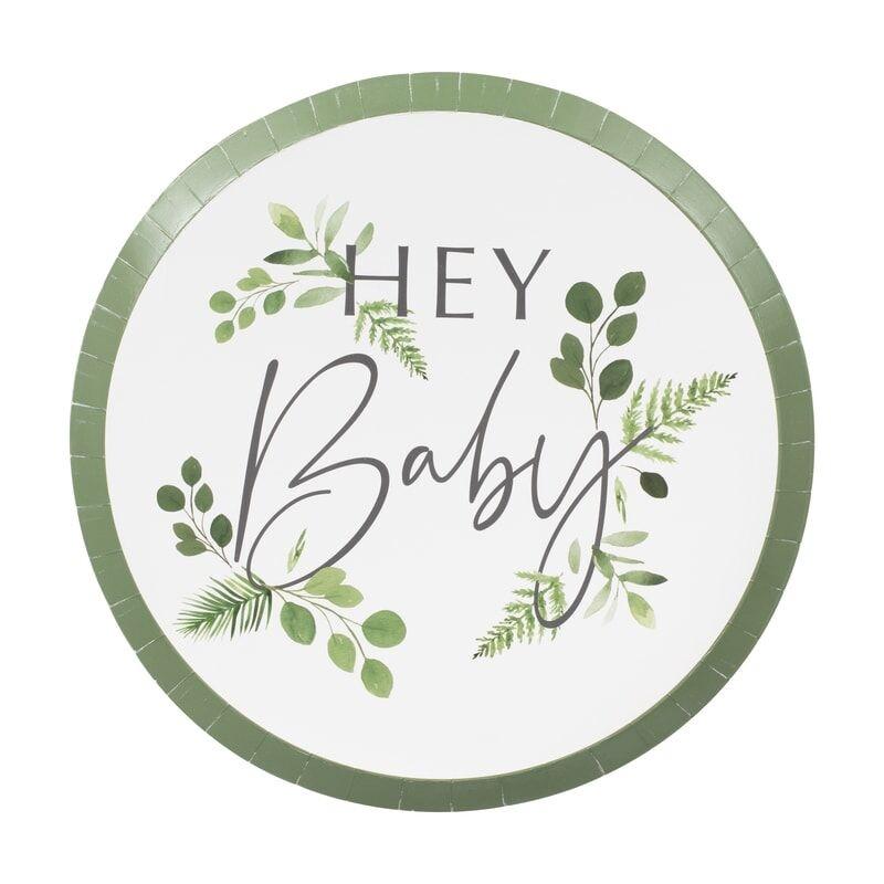 GINGERRAY BOTANICAL HEY BABY SHOWER PLATES