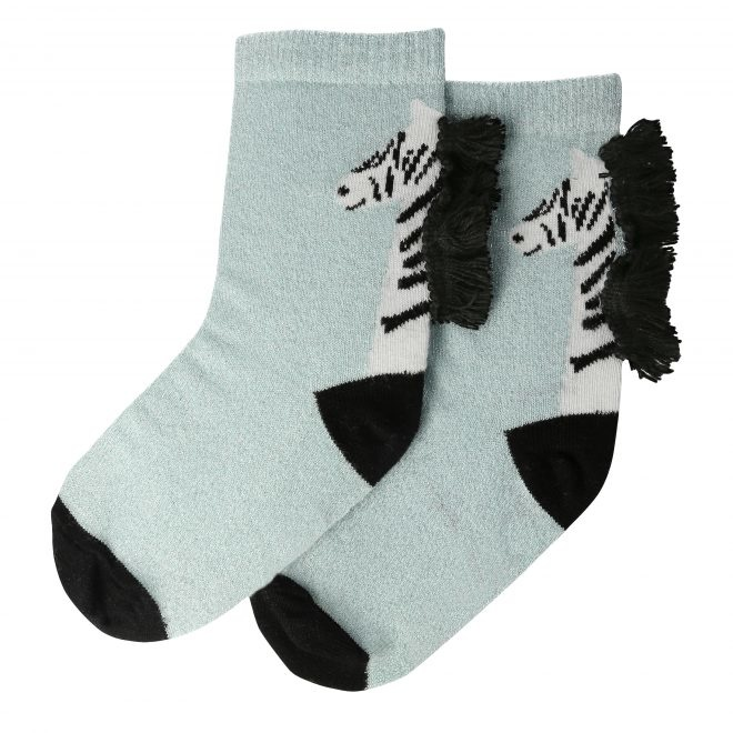 MERIMERI Zebra sparkle socks 6-8 yrs