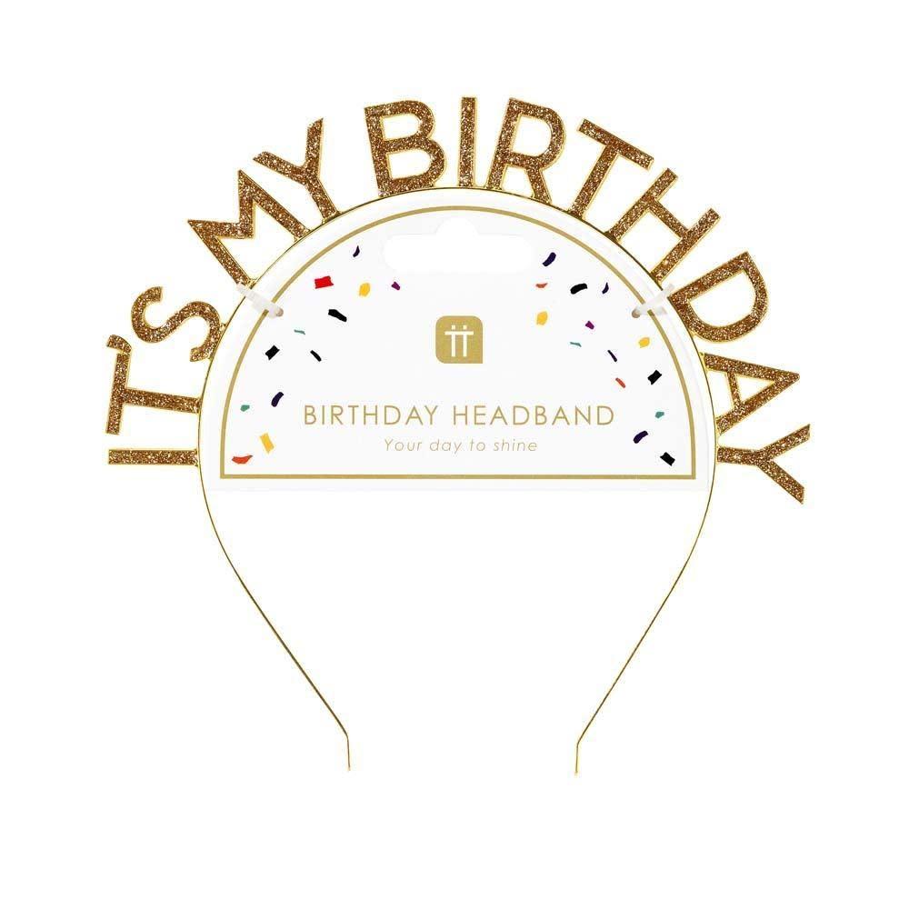 TT Luxe Gold Happy Birthday Headband