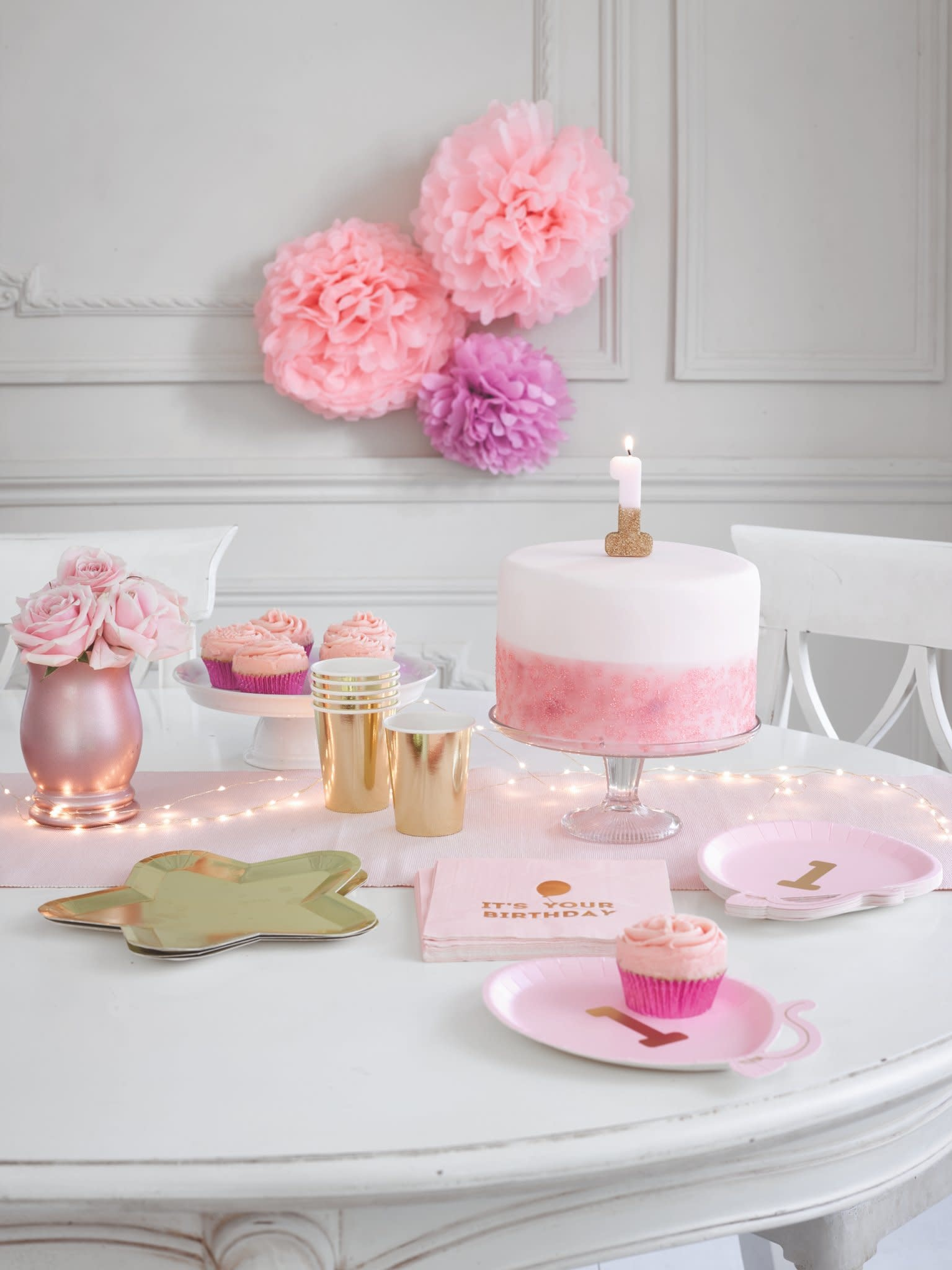 TT Pink Birthday Glitter Candle - 1