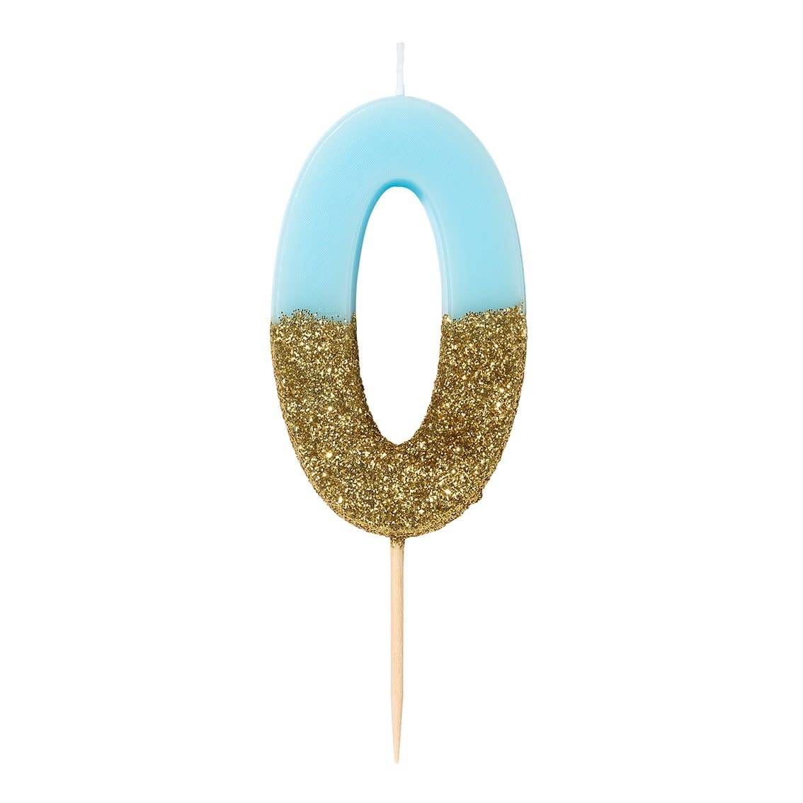 TT Blue Birthday Glitter Number Candle Blue 0