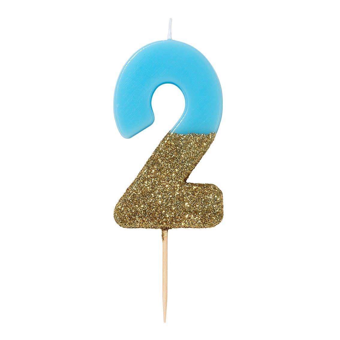 TT Blue Birthday Glitter Number Candle Blue 2