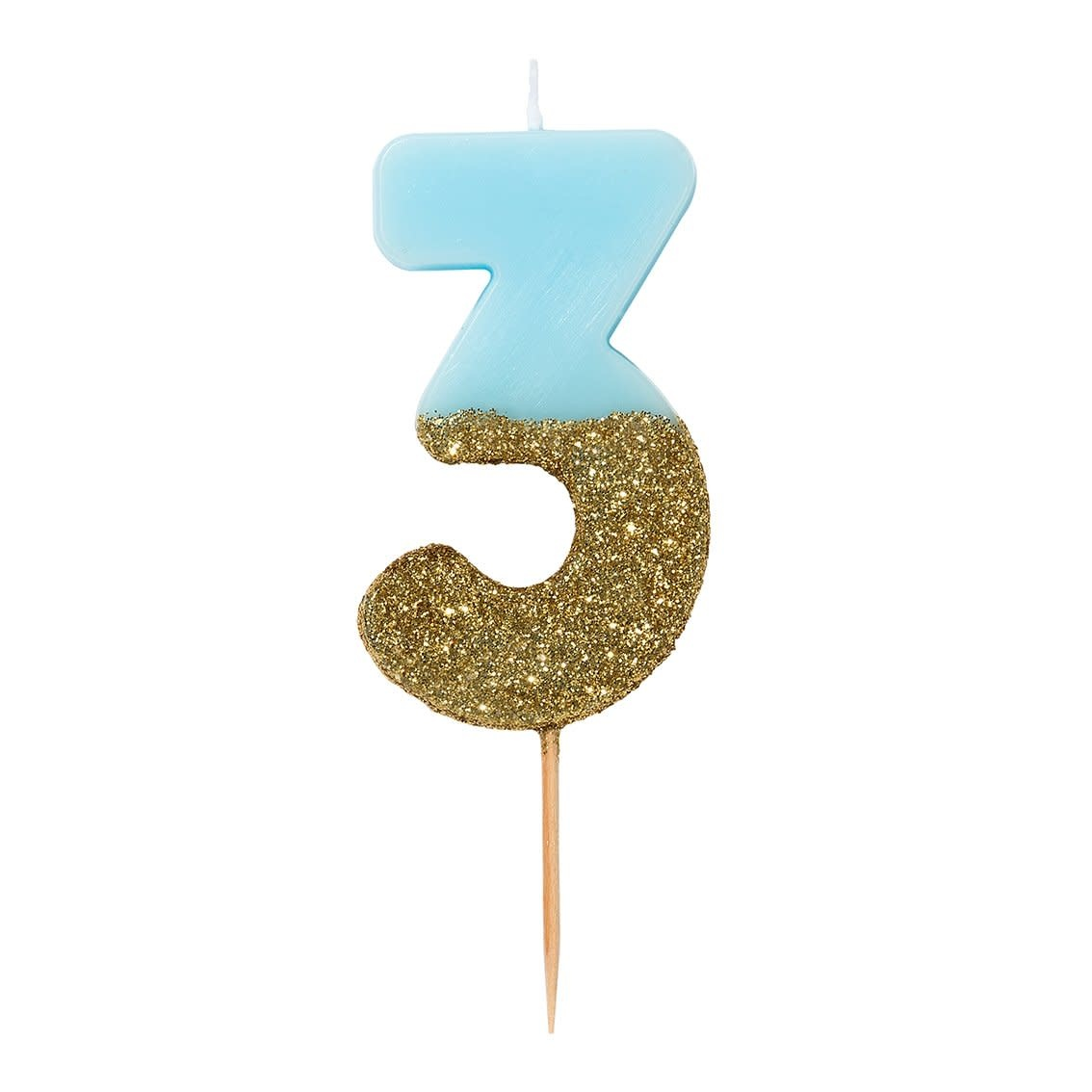 TT Blue Birthday Glitter Number Candle Blue 3