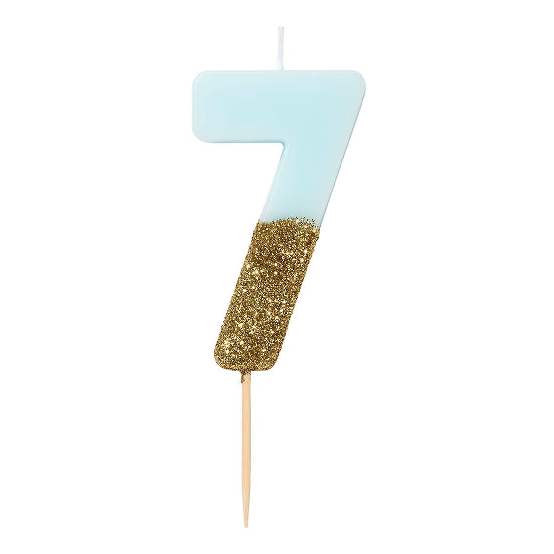 TT Blue Birthday Glitter Number Candle Blue 7