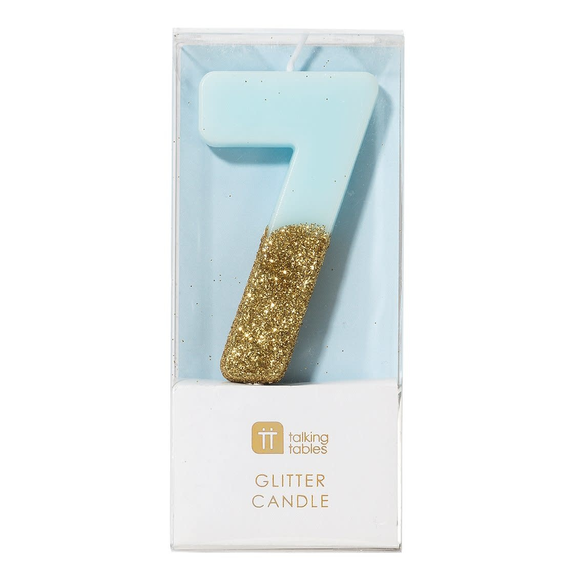 TT Blue Birthday Glitter Number Candle Blue 7