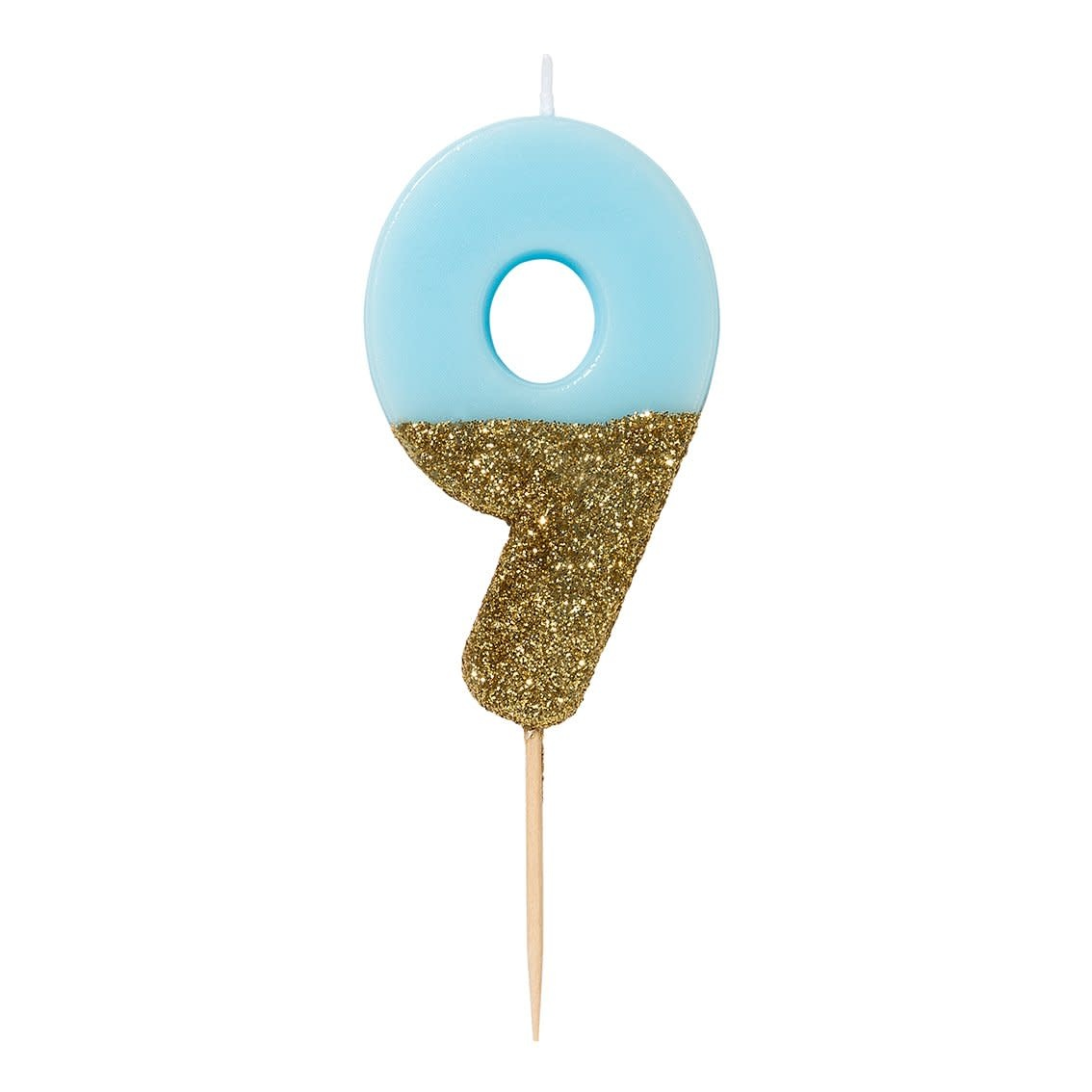 TT Blue Birthday Glitter Number Candle Blue 9