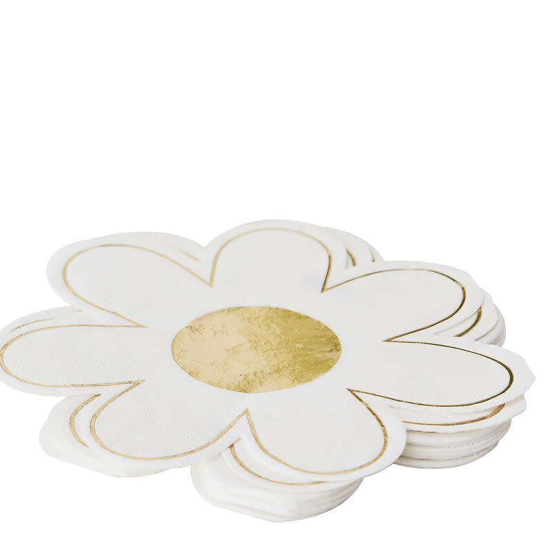 GINGERRAY NAPKINS DAISY SHAPED WITH GOLD FOIL