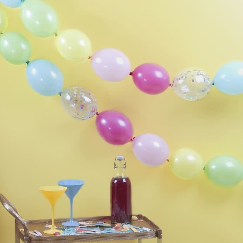 GINGERRAY MULTI-COLOURED AND CONFETTI FILLED LINKING PARTY BALLOONS