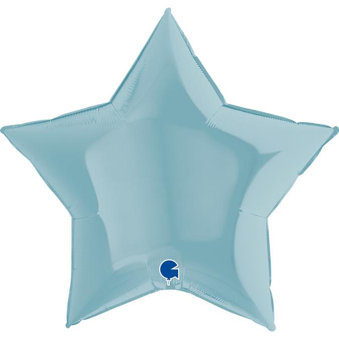 SMP star foil balloon pastel blue 90 cm