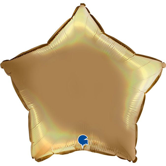 SMP star foil balloon holographic champagne platine 55 cm