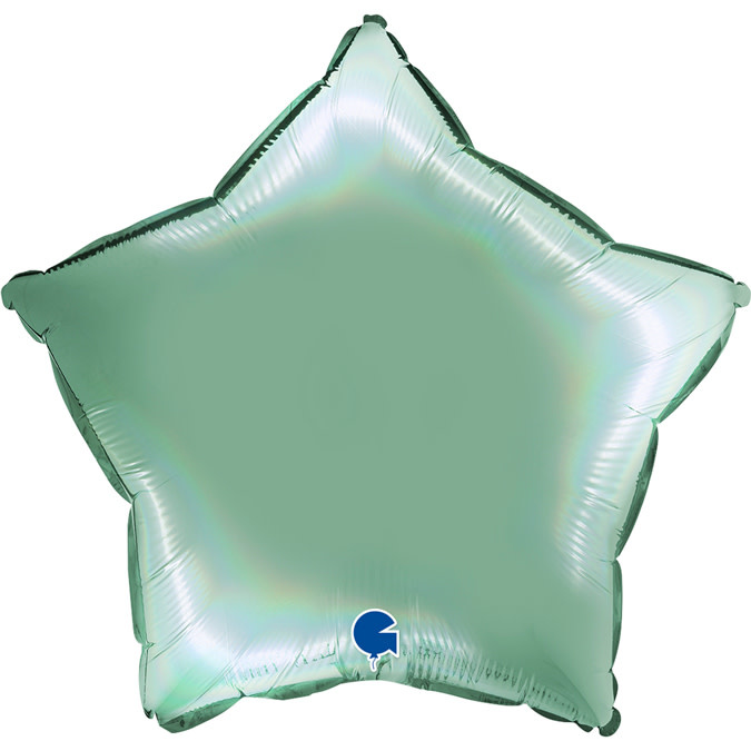 SMP star foil balloon holographic mint platine 55 cm