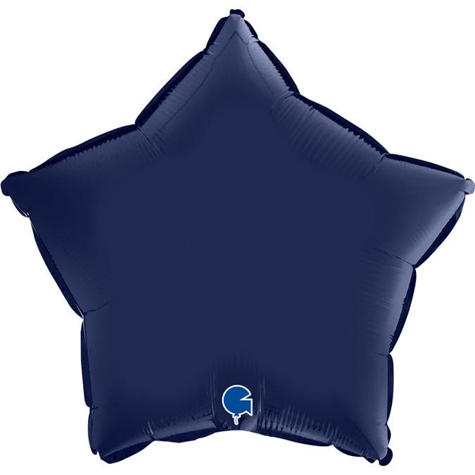 SMP star foil balloon satin blue marine 55 cm