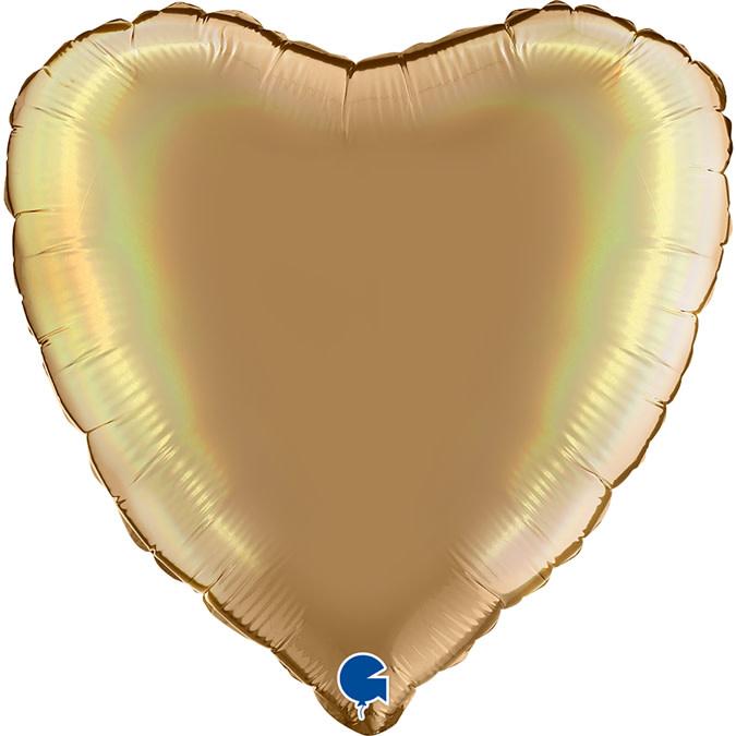 SMP heart foil balloon champagne platine 45 cm