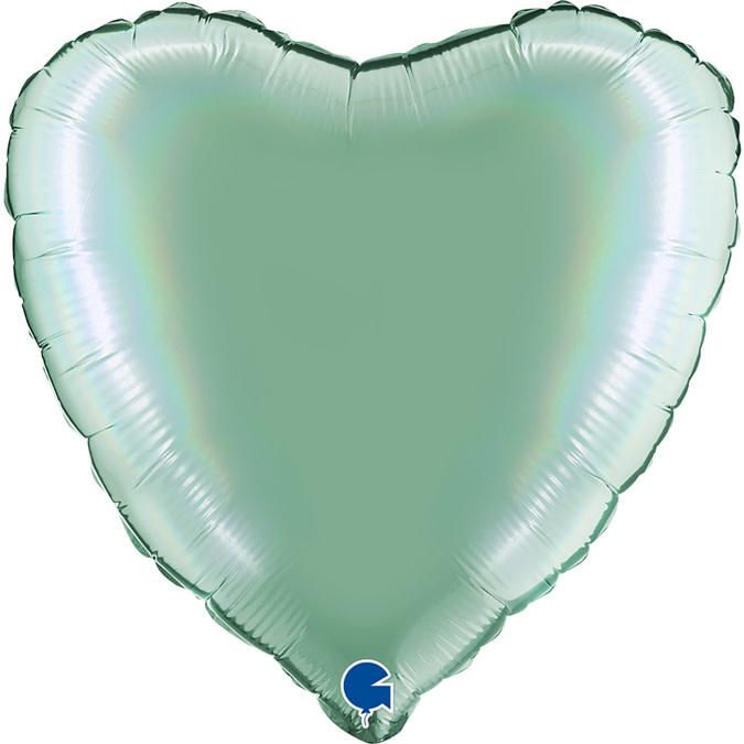 SMP heart foil balloon mint platine 45 cm