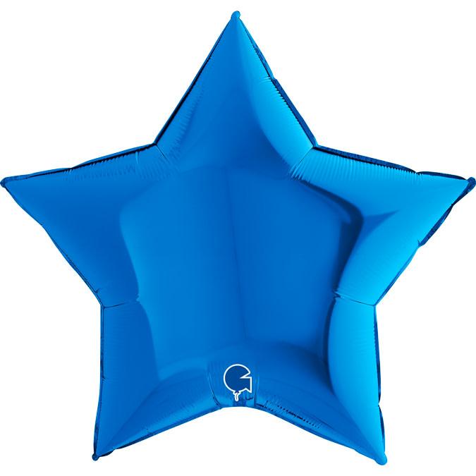 SMP star foil balloon blue 90 cm