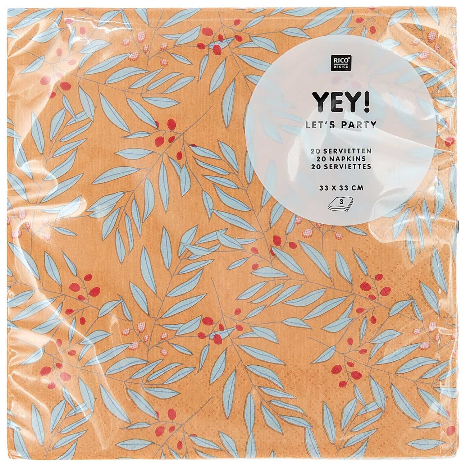 RICO NAPKIN,BRANCHES,ORANGE,FSC MIX
