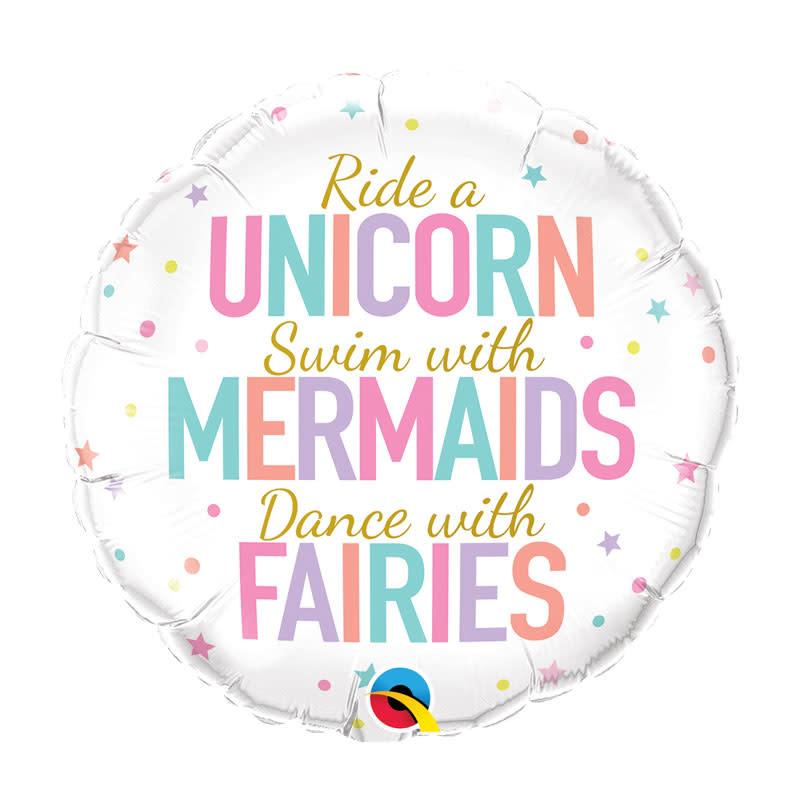 SMP unicorns/ mermaids/ fairies foil balloon 45 cm