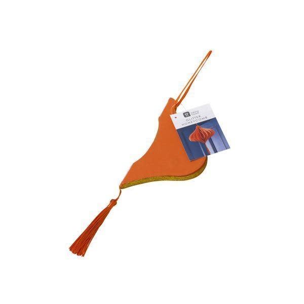 TT ORANGE CARD BAUBLE GLITTER HONEYCOMB WITH TASSEL, 20 CM