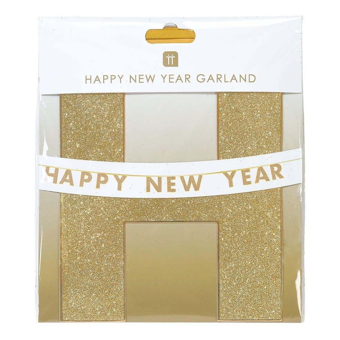 TT HAPPY NEW YEAR GOLD GLITTER GARLAND