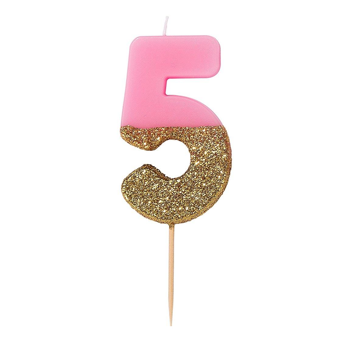 TT Pink Birthday Glitter Candle 5