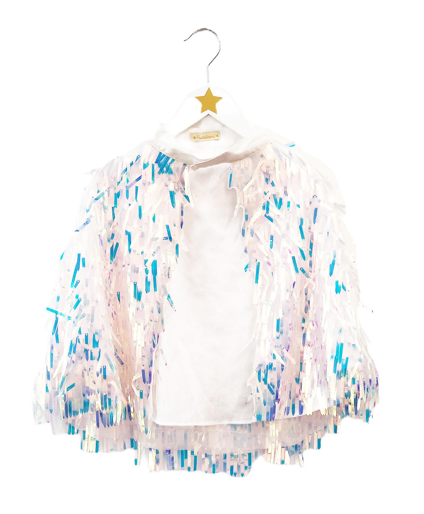 RATATAM iridescent fringe cape 1 size