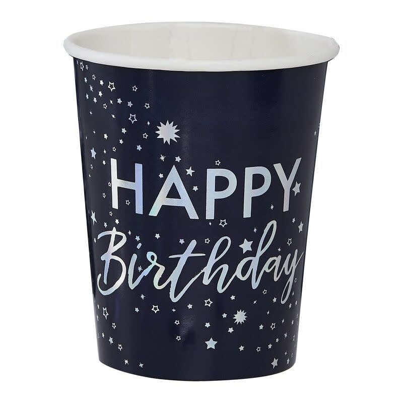 GINGERRAY IRIDESCENT FOILED HAPPY BIRTHDAY PAPER CUPS - STARGAZER