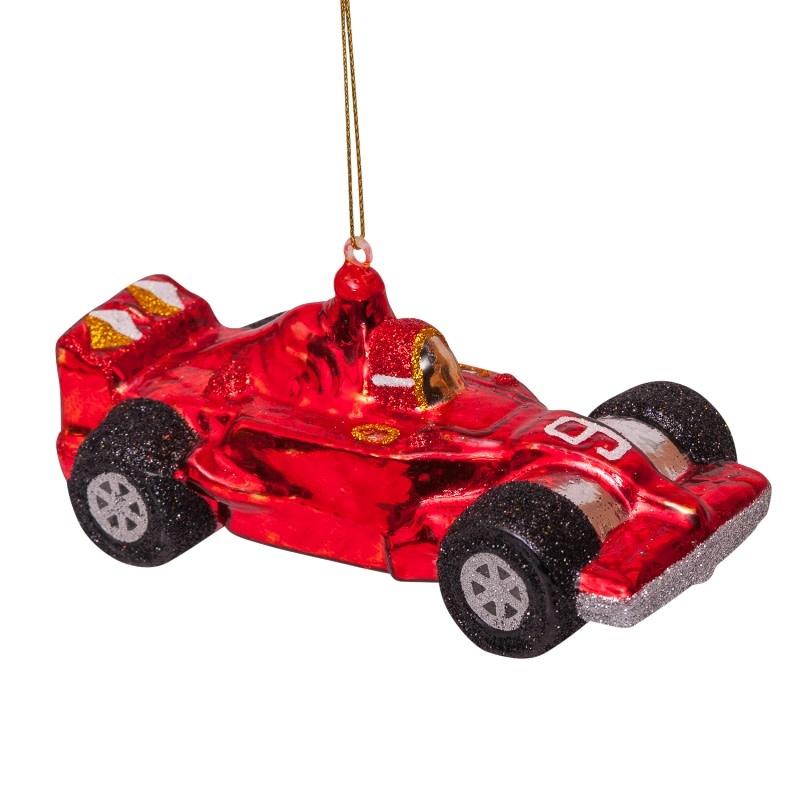 VS Ornament glass red racing car H10cm
