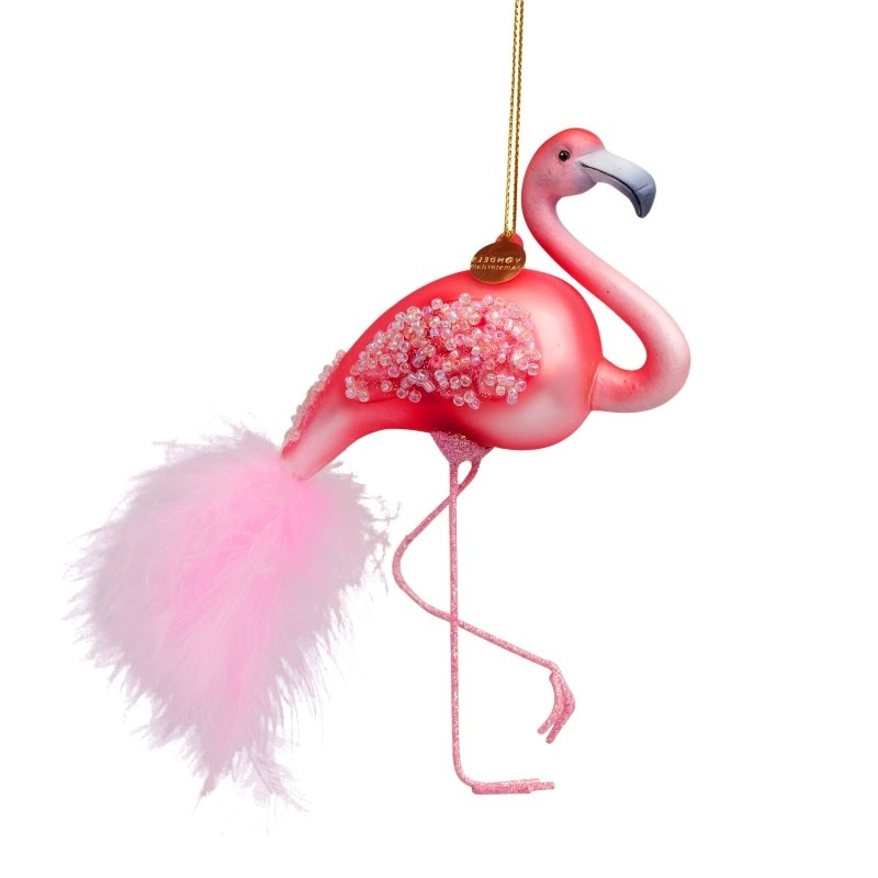 VS Ornament glass pink flamingo H15cm