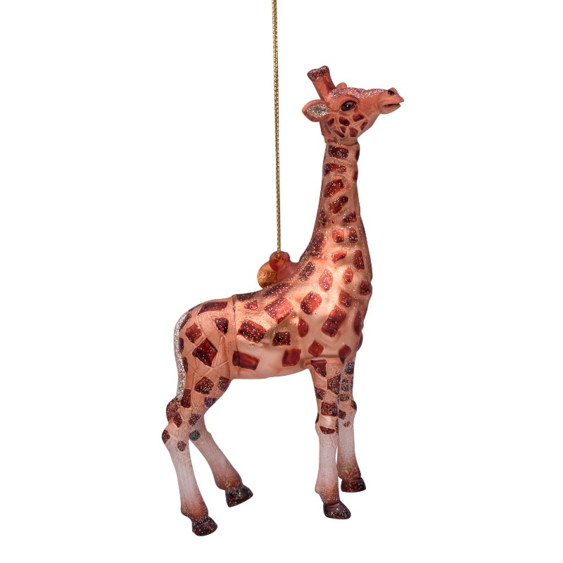 VS Ornament glass brown giraffe H13cm
