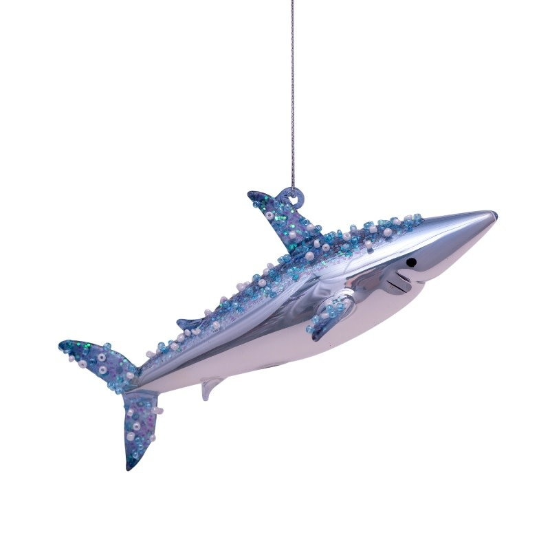 VS Ornament glass blue/white shark H4 cm
