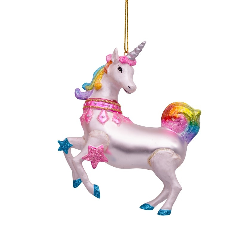 VS Ornament glass rainbow unicorn H11cm