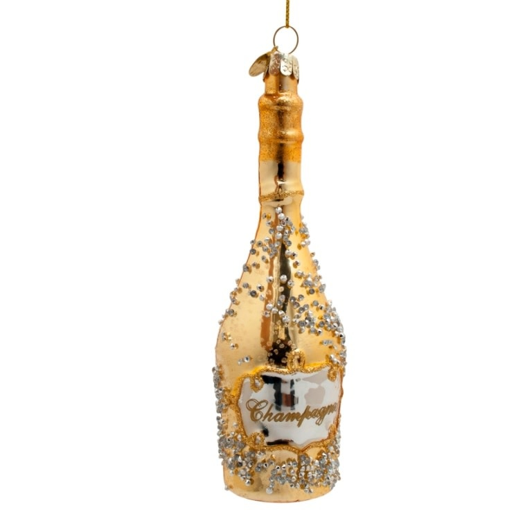 VS Ornament gold champagne bottle w/diamonds H16cm